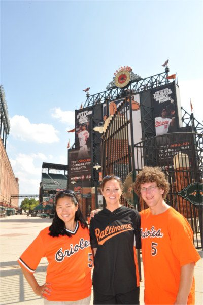 Students at an Orioles game