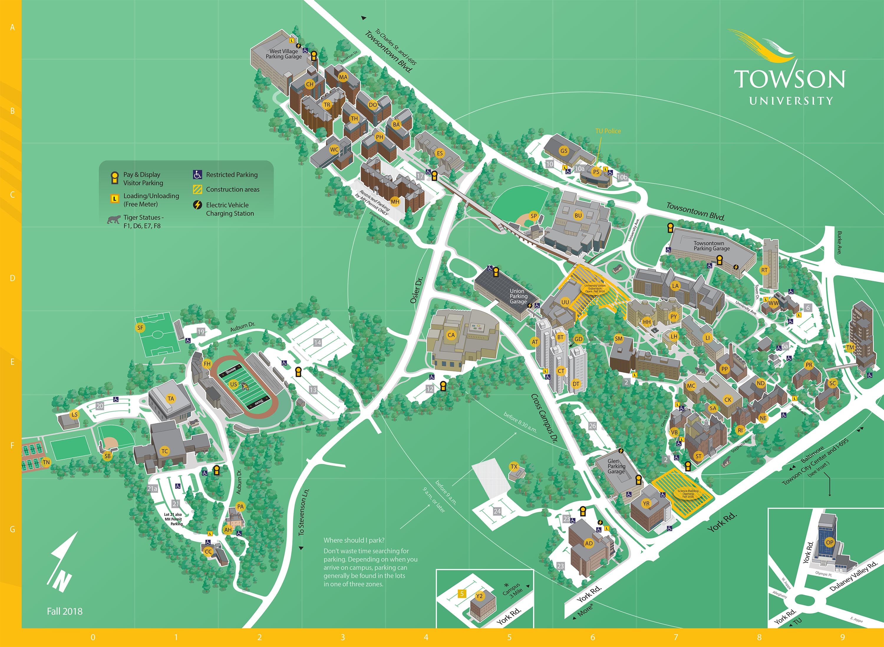 Campus Map And Important Information Towson Online Visitor S Guide